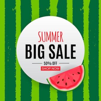 Abstrato base de venda de verão com melancia. ilustração