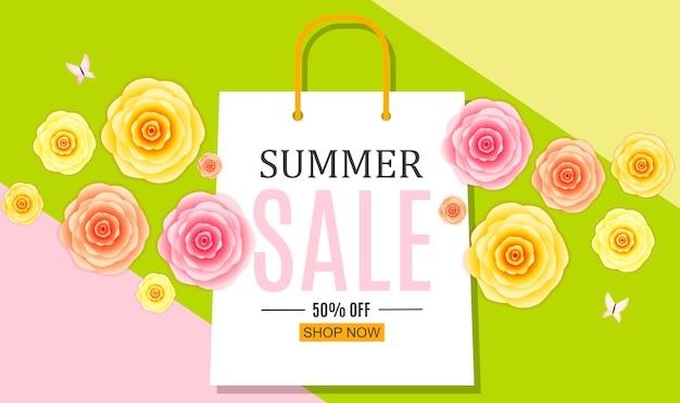 Abstrato base de venda de verão com sacola de compras.