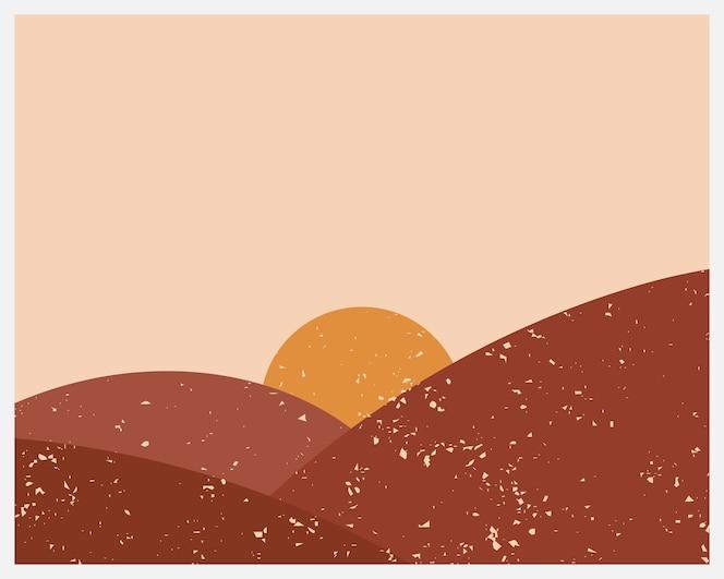 abstrato base estético contemporâneo com paisagem, deserto, sol.