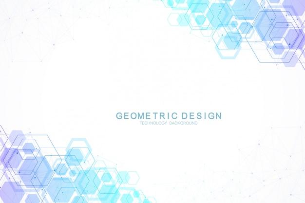 Abstrato base hexagonal com ondas. estruturas moleculares hexagonais. fundo de tecnologia futurista em estilo de ciência. gráfico hex fundo para seu projeto.