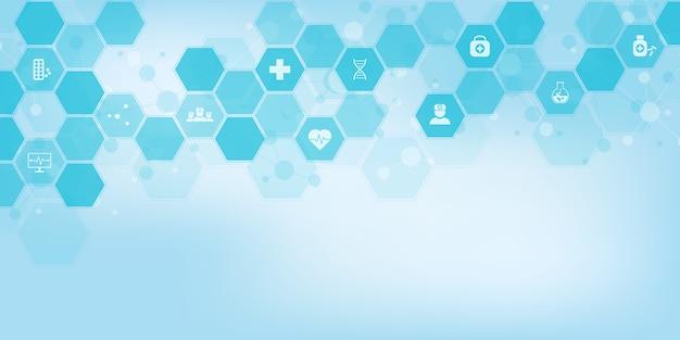 Abstrato base médico com símbolos e ícones planas. conceitos e idéias para tecnologia de saúde, inovação em medicina, saúde, ciência e pesquisa.