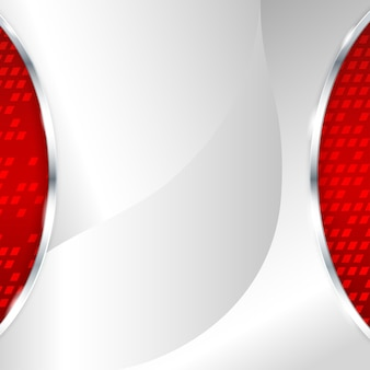 Abstrato base metálico com elemento vermelho. ilustração vetorial.