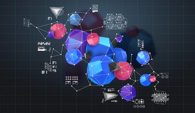 Abstrato base poligonal. 3d rendem a ilustração. fundo geométrico com elementos de baixo-poli.