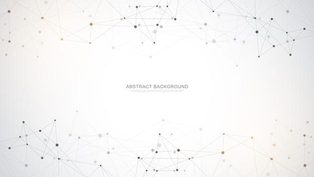 Abstrato base poligonal com pontos e linhas de conexão. conexão de rede global, tecnologia digital e conceito de comunicação.