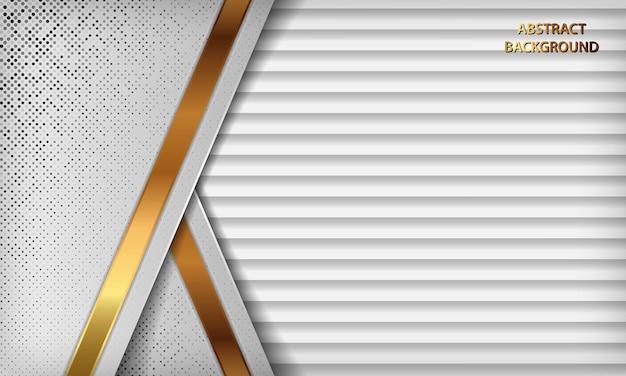Abstrato branco de luxo com camadas de sobreposição. textura cinza com decoração de efeito de linha dourada e elemento de pontos de brilhos de prata.