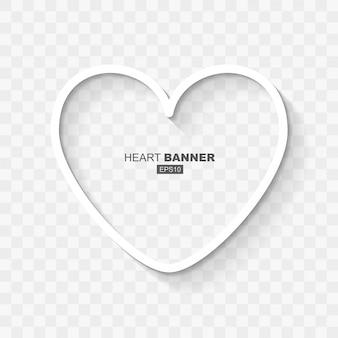 Abstrato branco ouvir forma modelo de banner com sombra design plano para dia dos namorados