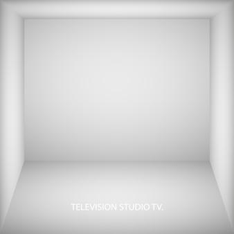 Abstrato branco quarto vazio, nicho com parede branca, piso, teto, lado escuro sem texturas, caixa vista superior ilustração 3d incolor