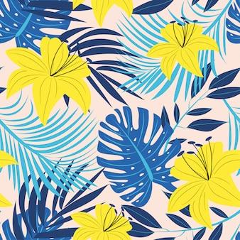 Abstrato brilhante padrão sem emenda com folhas e plantas tropicais coloridas