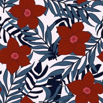 Abstrato brilhante padrão sem emenda com folhas tropicais coloridas e flores em branco