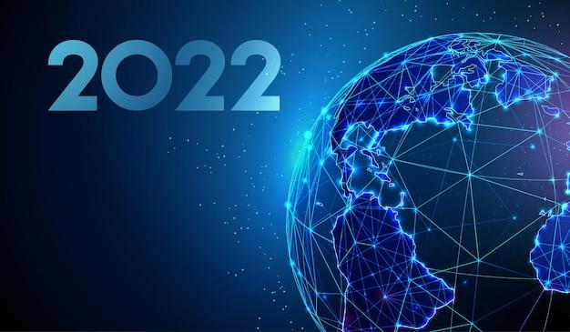 Abstrato cartão feliz ano novo de 2022 com design de estilo low poly planeta wireframe vector