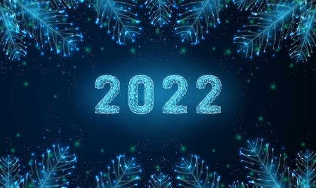 Abstrato cartão feliz ano novo de 2022 com galhos de árvores em forma low poly estilo wireframe vector