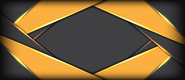 Abstrato cinza metálico com fundo futurista banner sobreposição amarelo