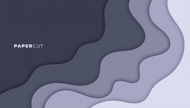Abstrato cinza papercut estilo camadas design de plano de fundo