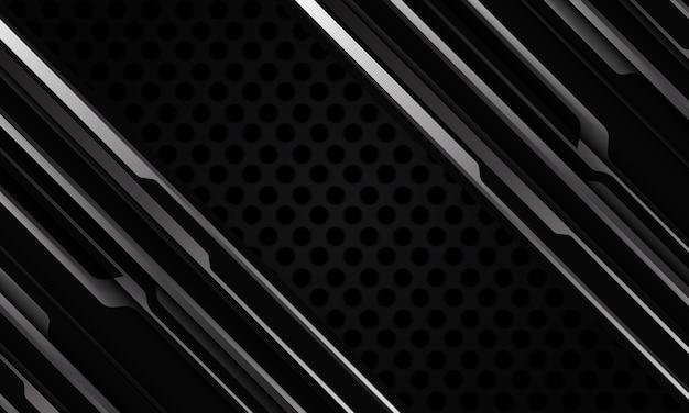 Abstrato cinza prateado preto metálico sombra linha preta malha de círculo dinâmico cyber geométrica