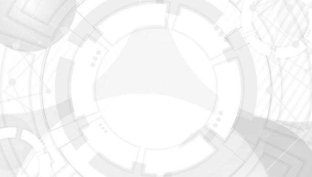 Abstrato cinzento com formas geométricas translúcidas. modelo moderno com figuras, linhas e moldura redonda ou borda no centro. ilustração monocromática em estilo apartamento minimalista.