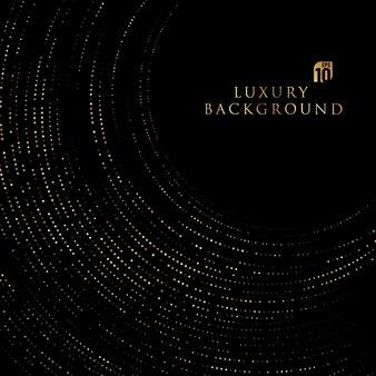 Abstrato circular sobreposto em fundo preto com glitter e linhas douradas brilhantes combinações de pontos dourados.