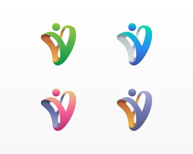 Abstrato colorido letra v pessoas logotipo variações