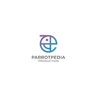 Abstrato colorido papagaio pássaro logotipo design em estilo monoline