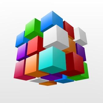 Abstrato colorido pedaço de cubo ilustração vetorial