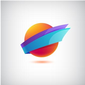 Abstrato colorido redondo dinâmico, logotipo da empresa