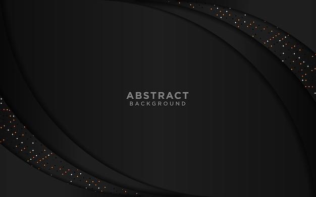 Abstrato com camadas de sobreposição preto e brilhos de ouro