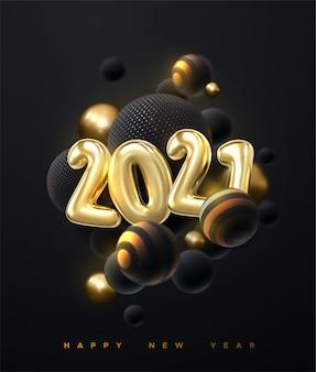 Abstrato com conjunto de esferas 3d. bolhas douradas e pretas. feliz ano novo de 2021. ilustração do feriado de números metálicos dourados 2021.