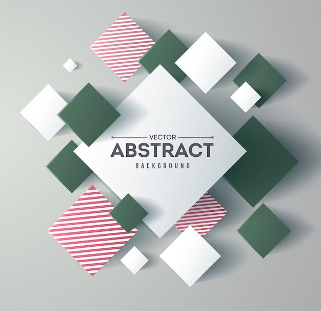 Abstrato com cubos 3d e quadrados