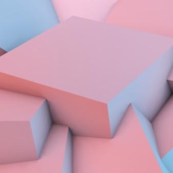 Abstrato com cubos de quartzo rosa e serenidade
