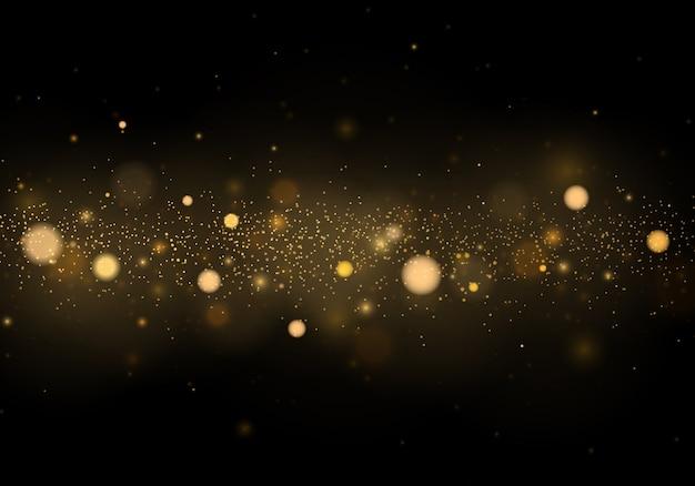 Abstrato com efeito bokeh ouro. natal. partículas de poeira mágica cintilante. conceito mágico.