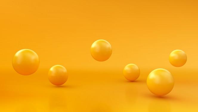 Abstrato com esferas 3d dinâmicas. bolhas amarelas. ilustração de bolas brilhantes. design moderno banner na moda