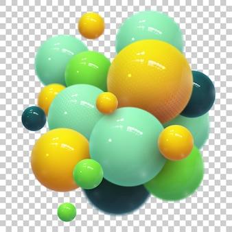 Abstrato com esferas 3d dinâmicas. bolhas de plástico amarelas e douradas.