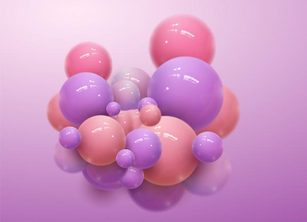 Abstrato com esferas 3d dinâmicas. bolhas plásticas rosa suaves. ilustração de bolas brilhantes.