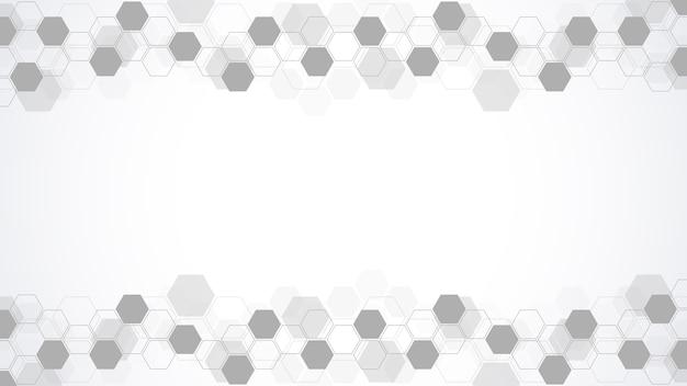 Abstrato com formas geométricas e moldura hexagonal para medicina, tecnologia ou design de ciência.