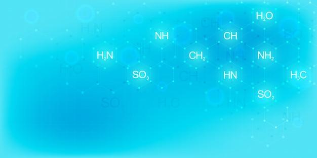 Abstrato com fórmulas químicas e estruturas moleculares. modelo de design com conceito e idéia para ciência e inovação tecnológica.