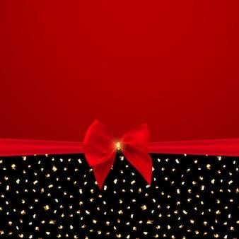 Abstrato com laço e fita vermelhos.