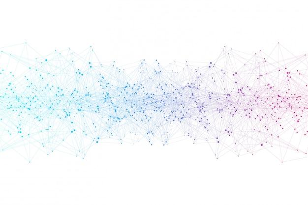 Abstrato com linhas conectadas e pontos. efeito geométrico de plexo.