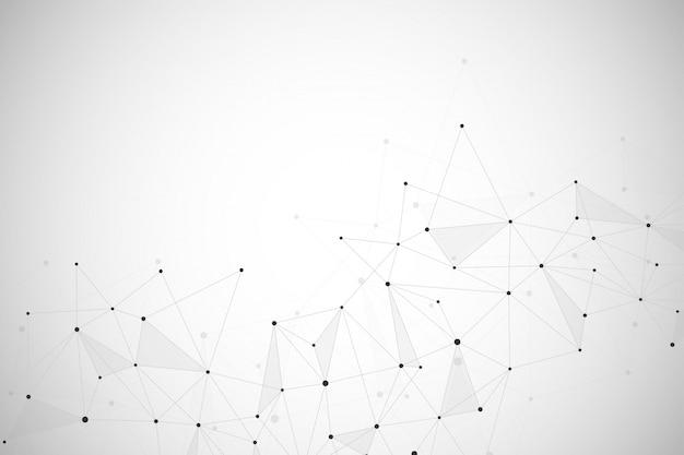 Abstrato com linhas conectadas e pontos.