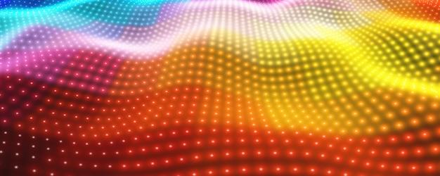 Abstrato com luzes de neon coloridas formando superfície ondulada