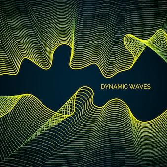 Abstrato com uma dinâmica ondas coloridas, linha e partículas.