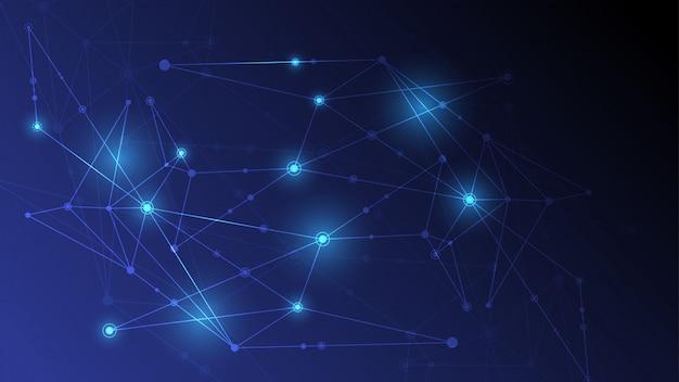 Abstrato conectando pontos de inovação e conceito de comunicação de linha