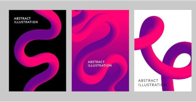 Abstrato conjunto de design criativo de fundo fluxo de forma 3d liquid vector