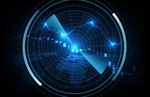 Abstrato da interface futurista de varredura de tecnologia hud com economia crise dados mercado de ações gráfico padrão de preços