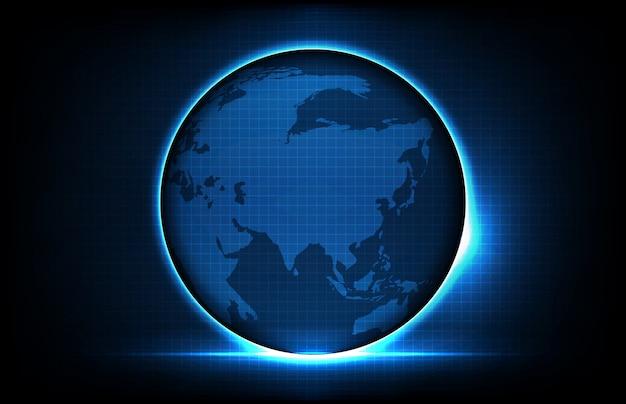 Abstrato da tecnologia futurista brilhante mundo digital globo mapas com, conceito de tela de alta tecnologia