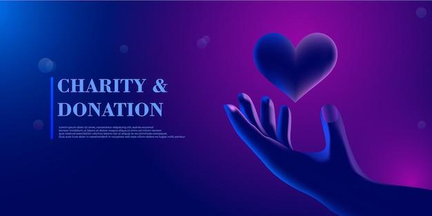Abstrato dando a mão com o coração conceito gráfico 3d moderno ilustração em vetor isolada