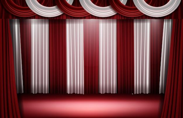 Abstrato de cortina vermelha e branca e luz de palco