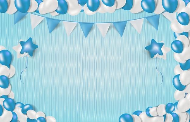 Abstrato de diversão azul festa com moldura de balão