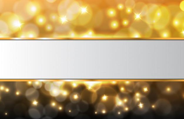 Abstrato de partículas brilhantes ouro bokeh com moldura branca