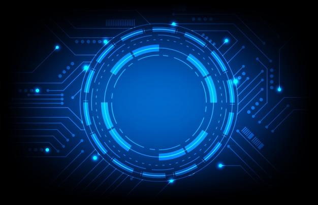 Abstrato de sci fi hud ui com placa de circuito impresso azul