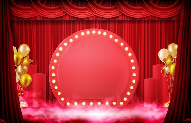 Abstrato de sinal com cortina vermelha