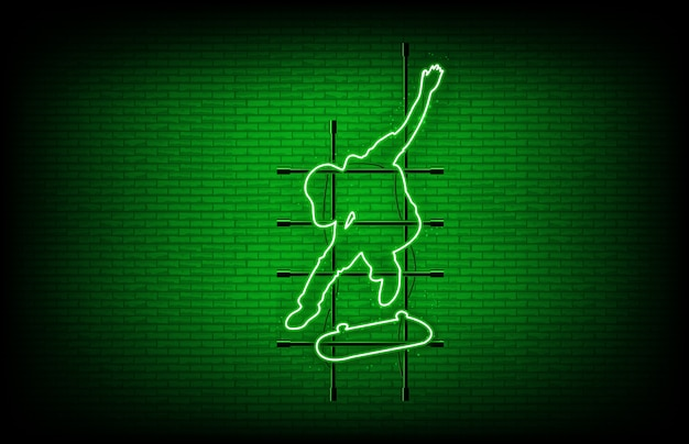 Abstrato de sinal de néon verde skatista